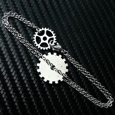 Silver Gear Bracelet Steampunk Industrial--Stainless Steel Flat Cable Chain