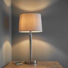 Lámpara de mesa elegante Puerto Usb Cargador En Níquel Brillante + Cortina De Falsa Seda Visón