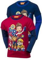 Paw Patrol Boys Long Sleeve T-Shirt In Blue Or Red - Ages 3/4/5/6/7/8 Years