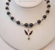 Mythical Phoenix necklace with Garnet gemstones celtic beads and enamel phoenix