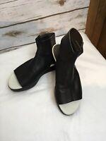EUC COCLICO Bergamot Black Wedge Platform Sandals Leather Ankle Strap 36.5/ 6.5