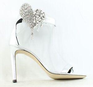 Giuseppe Zanotti Womens E000139 Silver Ankle Strap Heels EUR 37 (1518894)