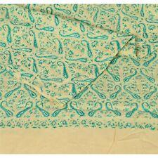 Sanskriti  Hand Embroidered Woolen Indian Shawl Cream Sozni Stole Floral