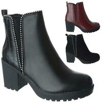 Womens Ladies Chunky Block Heel Zip Up Platform Ankle Chelsea Boots Shoes Size