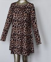 LS1 LADIES LEOPARD-WOMAN-LONG- BODY CON-SLEEVE-SWING-SKATER-PARTY-DRESS-TOP