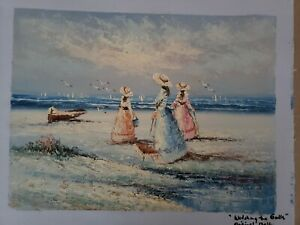 Marie Charlot Original Oil on Canvas   Watching the Gulls