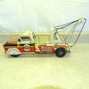 Vintage Marx Lumar Wrecker Service Truck, Pressed Steel Toy, Checkered Race 8