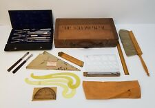 Vintage Charvoz Drafting Tool Set & Accessories with Wood Carrying Case