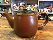 BRT  Vintage Retro Norwegian Mid century Large Green & Brown Pottery Tea Pot