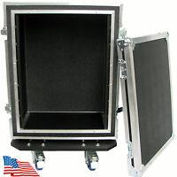 ATA Kent Custom Road Case 10 Space Shock Mount Rack with Casters 10u HEAVY DUTY