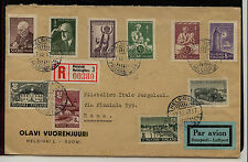 Finland nice regsitered cover to Italy 1947 nice franking Ms0130