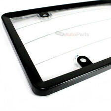 Black Plastic License Plate Tag Frame with Clear Protector for Auto-Car-Truck