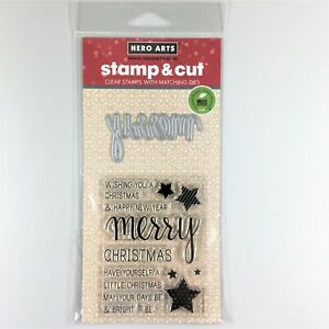 Hero Arts Stamp & Cut Merry Clear Stamp Die Set Christmas Holiday Greetings