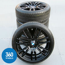 "GENUINE BMW 19"" 403 M SPORT STAR SPOKE BLACK ALLOY WHEELS BRIDGESTONE RFT TYRES"