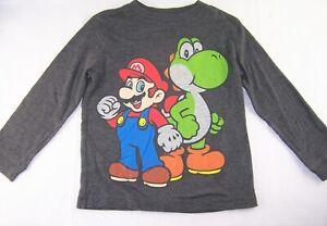 Boys MARIO & YOSHI long sleeve retro t shirt top 5 Old Navy Nintendo dark gray
