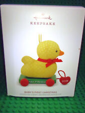 2018 Hallmark Baby's First Christmas Fabric and Wood Duck Ornament NMIB
