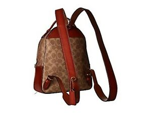 COACH Womens Carrie Signature Canvas Backpack Bag Handbag Beige Red 23 New