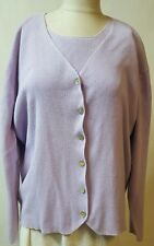Denim & Co Twin Purple Sweater Set Sz Large  Lilac Cardigan Short Sleeve Sweater