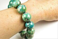 """Beautiful Chrysocolla Bracelet with Malachite Azurite ~ 9"""" ~ 16mm beads ~ 7807A"""