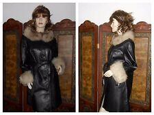 M Vtg Black leather Coat w/ real Fox Fur Collar & Cuffs leather fox fur jacket