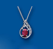 Ruby Pendant Diamond Necklace Solid Sterling Silver Pendant with Chain