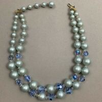 Vintage Double Strand Blue Faux Pearl Aurora Borealis AB Beaded Necklace 1950s