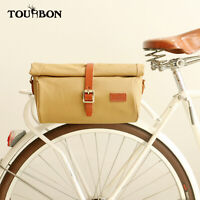 Tourbon Vintage Canvas Bike Rear Pannier Handlebar Bag Roll Top Crossbody Bag