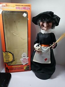 """Vtg Telco Halloween Motionette Witch Skull 92180 Sound Lights 17"""" Table Top 1989"""