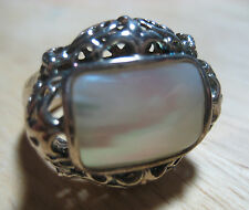 Amazing Chunky Sterling Silver Filigree MOP * Mother of Pearl Big Dome Ring Sz 9