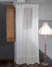 Tenda Tulle Ricamata Shabby Chic 140 x 290 Ricamo Colore Ecru
