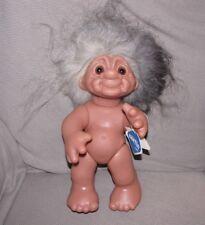 "Vintage Norfin Grandma Troll Doll Style 7001 with original tags 13"" gray hair"