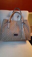 New Guess Brown Taupe Anson Jacquard Fabric Tassel Large Handbag Satchel Purse