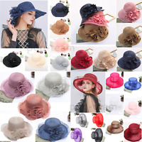 Women Lady Fascinator Wide Brim Church Kentucky Derby Hat Wedding Tea Party Cap