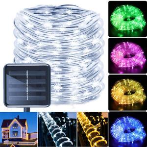 Solar LED Rope Tube Fairy String Lights Waterproof Outdoor Garden Fence Lights