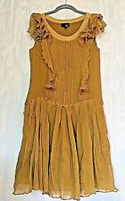 JUST CAVALLI Mustard Yellow Beyonce Lemonade Ruffled Drop Waist Silk Dress 46 M
