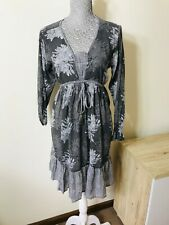 ISLE OF MINE Grey Floral Peasant Style Cotton Dress - Size S/M -