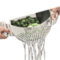 Stainless Steel Pan Pot Drainer Strainer Pasta Sieve Filter Vegetables Clean Aid