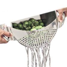 Stainless Steel Pan Pot Drainer Strainer Pasta Sieve Filter Vegetables Clean Aid