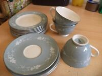 OLD VINTAGE RETRO ROYAL DOULTON reflection CHINA grey trio cup saucer plate lot
