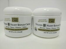 2 x New  Vital-Care-Vitamin-E-Night-Repair Creme Age-defying Antioxidants 4oz