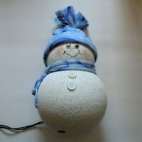 Christmas Light Up Snowman Handmade With Fabric Wearing a Stocking Cap & Scarf