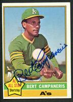 Bert Campaneris #580 signed autograph auto 1976 Topps Baseball Trading Card