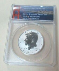 2018 S Silver Kennedy Half Dollar 50c ANACS RP70 Reverse Proof
