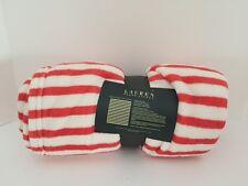 "Ralph Lauren Plush Throw Blanket (60""x70"") RED/WHITE STRIPE - NEW"