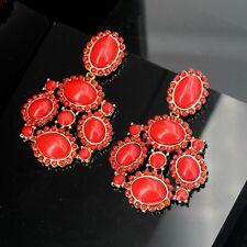 Boucles d`Oreilles Clip Pendante Rouge Ethnique  Original Soirée Mariage X11
