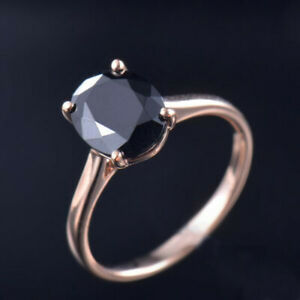 Resizable Estate Solid 14K Rose Gold 3Ct Oval Black Spinel Engagement Deco Ring