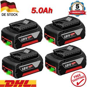 4x Für Bosch Ersatz Akku GBA 18V 5Ah GSR GSB GSR 18 Volt BAT618 BAT609 Ladegerät