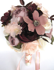 17 piece package Wedding Bouquets Bridal Silk Flower ROSE GOLD Blush EGGPLANT