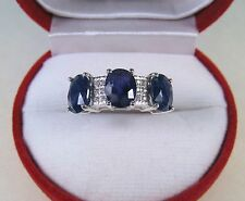 5.41 CTW BLUE & WHITE SAPPHIRE RING sz 7.5 - WHITE GOLD over 925 STERLING SILVER
