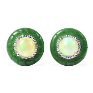 925 Sterling Silver Green Jade Opal Stud Solitaire Earrings Gift Jewelry Ct 8.9